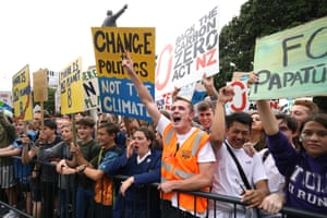 Activists in New Zealand chant in front of the parliament building in Wellington