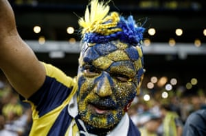 A highly committed Fenerbahçe fan at the match between the Turkish side and Sturm Graz in a Uefa Europa League qualifier in Istanbul