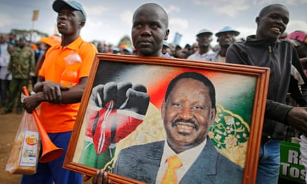 Kenya's opposition Orange Democratic Movement, led by Raila Odinga, holds a rally ahead of elections on 8 August.