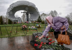 The ceremony marking the 30th anniversary of the Chernobyl disaster at the Mitino cemetery in Moscow.
