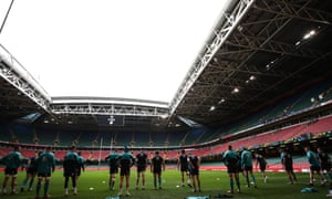 Ireland train during the Captain's Run at the Principality Stadium on Friday