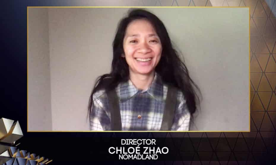 Chloé Zhao picking up the best director prize at this year's Baftas.