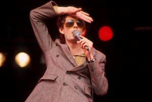 Jarvis Cocker of Pulp performs on stage at Glastonbury festival, June 1994.