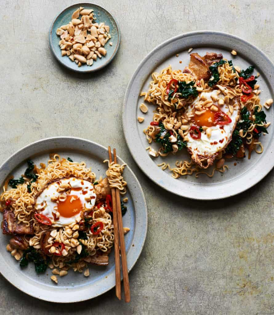 Lara Lee's spicy soy pork and peanut instant noodles