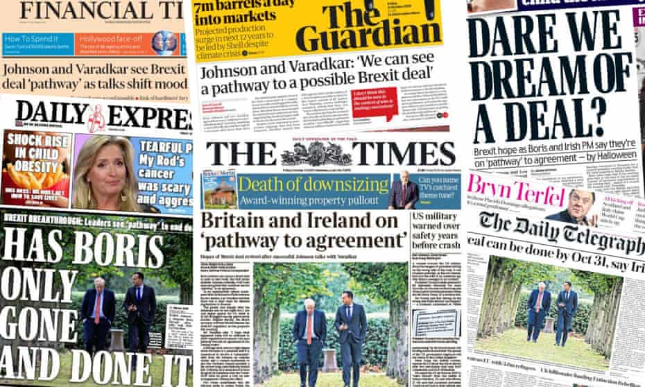 The front pages of some newspapers after the Johnson-Varadkar meeting.