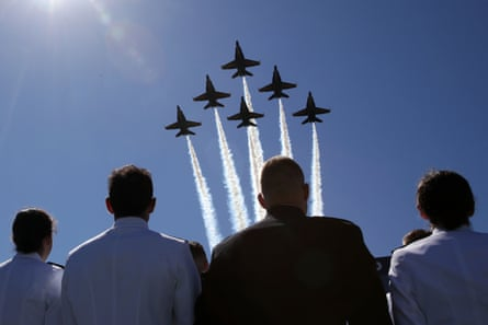 US Navy's Blue Angels fly over the Navy-Marine Corps Memorial stadium during a graduation ceremony at the US Naval Academy in Annapolis, Maryland.