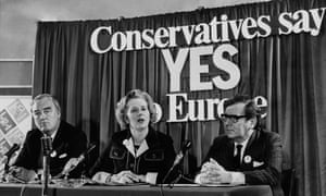 Margaret Thatcher at Europe referendum press conference in 1975