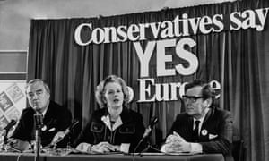 Margaret Thatcher at a European referendum press conference in June 1975