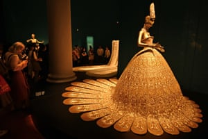 A dress is displayed at a museum in Singapore