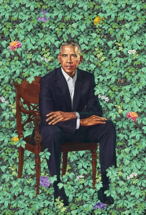 Barack Hussein Obama, by Kehinde Wiley, unveiled at the Smithsonian Institution, Washington DC, on12 February 2018.