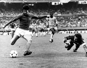 In action during the 2-1 defeat to Brazil in the third place play-off at the 1978 World Cup.