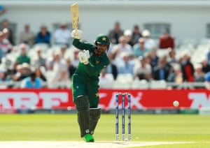 Fakhar sends one to the boundary for four.