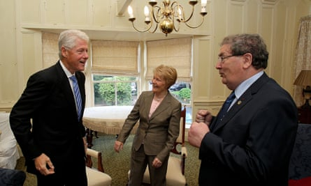 Bill Clinton greets John Hume and his wife, Pat, in Derry in 2010
