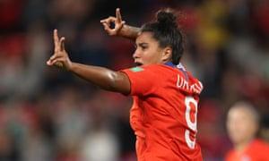 Maria Urrutia of Chile celebrates after scoring her team's second goal.