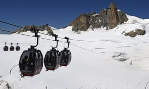 Cable cars in Chamonix-Mont-Blanc.
