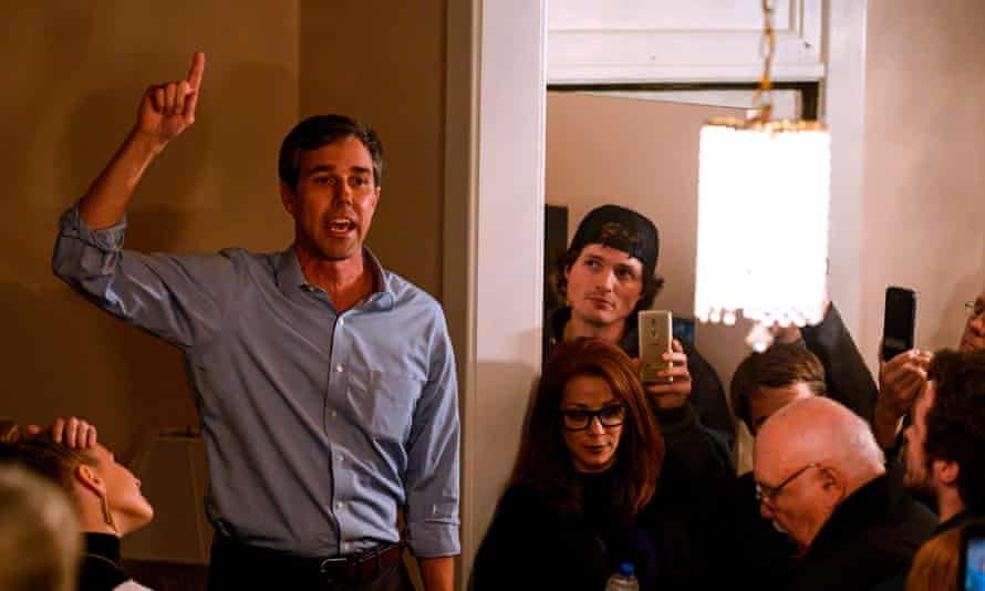 Beto O'Rourke addresses supporters in Iowa. 'I've never seen so much hand movement,' said Donald Trump.