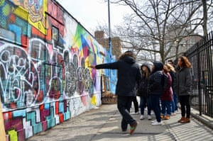 A graffiti class held by an instructor called Leaf in Manhattan in March.