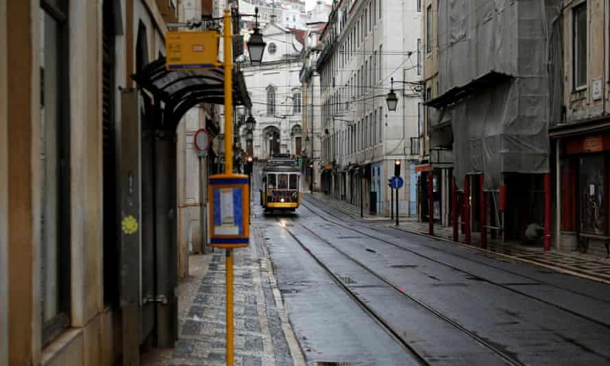 an empty street in Lisbon under lockdown measures in March.