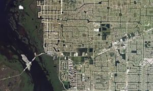 Cape Coral in Florida sports the sprawling ranch-style homes and spacious yards indicative of mid 20th-century American suburbia.