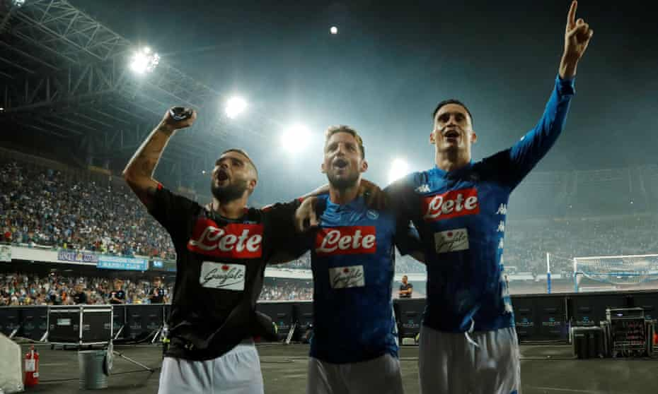 Lorenzo Insigne, Dries Mertens and José Callejón celebrate victory after the match.