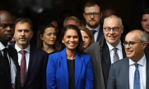 Supreme Court rules on suspension of British parliament<br>epaselect epa07865554 Anti-Brexit campaigner Gina Miller (C) leaves the Supreme Court for the result of a hearing on the prorogation of parliament, in London, Britain, 24 September 2019. The Supreme Court ruled that the suspension of parliament by British Prime Minister Boris Johnson was unlawful.  EPA/NEIL HALL