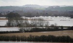 Flooded fields near Marden, Herefordshire
