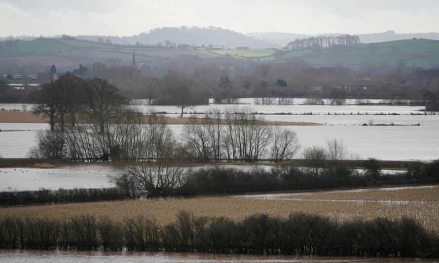 Flooded fields near Marden, Herefordshire