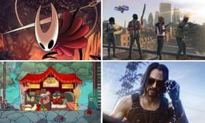 Clockwise from top left: Hollow Knight Silksong; Watch Dogs Legion; Cyberpunk 2077; Spiritfarer