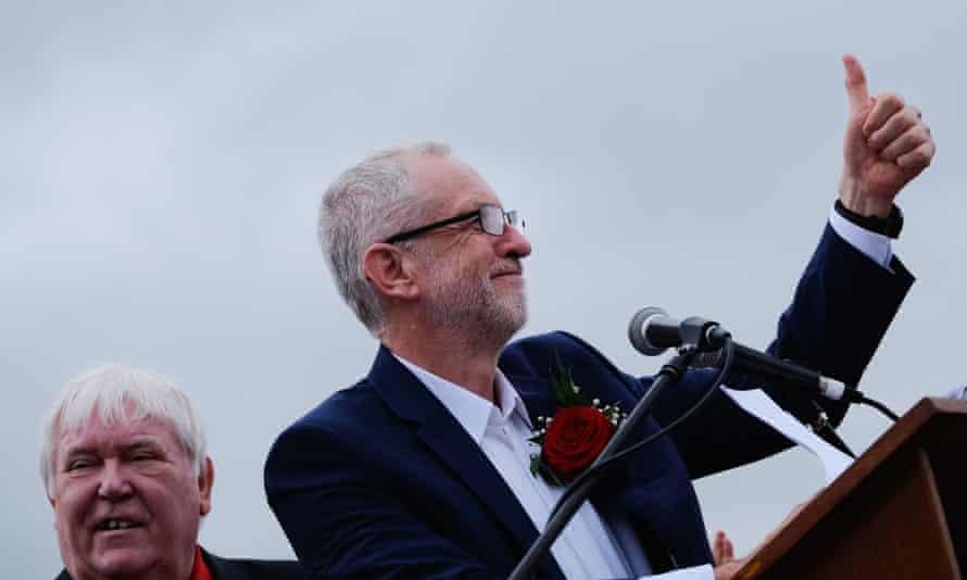 Jeremy Corbyn addressing the Durham miners' gala yesterday.