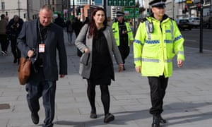 The then Labour MP, Luciana Berger, returns to the conference centre in 2018 with her police security detail.