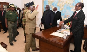 Robert Mugabe meets with defence forces generals at State House in Harare on Sunday.