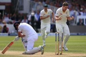 Alastair Cook is on his knees, bowled for 96 by Mitchell Marsh. Cook now has the record number of dismissals in the 90s for England, seven in total.