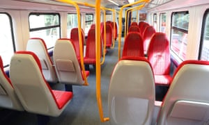 An empty train carriage on a South Western Railway train from London Waterloo to Ascot.