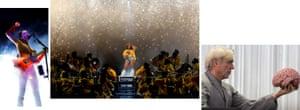 Left to right: St. Vincent, Beyonce, David Byrne