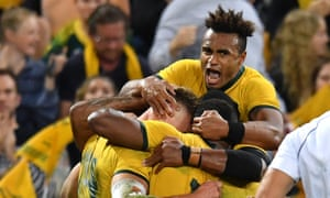 The Wallabies celebrate after scoring a try against Argentina at Suncorp Stadium in Brisbane.