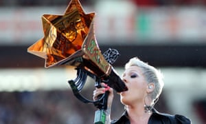 US singer Pink performs at the Stadium of Light, Sunderland in 2010.