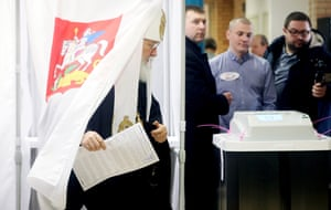 Russian Patriarch Kirill of Moscow and All Russia casts his ballot