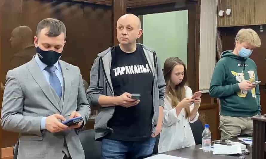 Sergei Smirnov, centre, in court on Wednesday