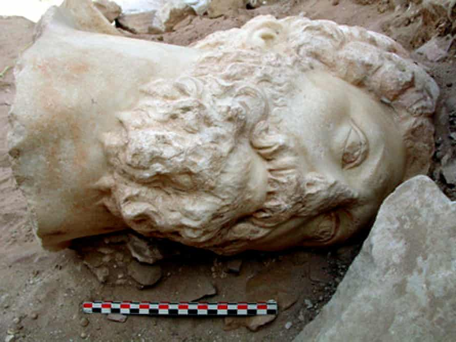 A perfectly preserved head of Marcus Aurelius unearthed by Jordanian French archeologists in the ancient Nabatean city of Petra, south of Jordan in 2015.