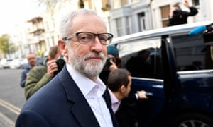 Jeremy Corbyn leaves his London home before talks.