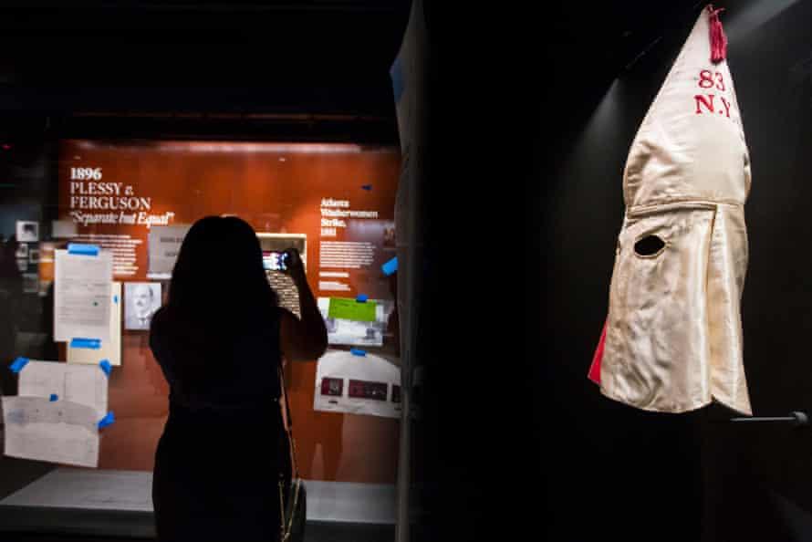 The display includes a klansman's hood.