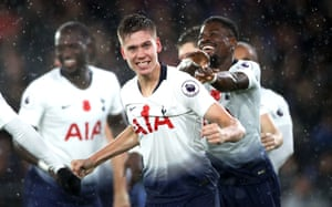 Juan Foyth celebrates scoring the winning goal, the third Argentine to score for Spurs in the Premier League, after Erik Lamela and Mauricio Taricco.