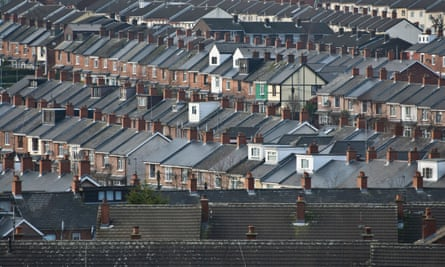 Houses on the terraced streets of the Ardoyne, North Belfast.