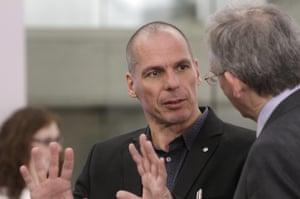 Yanis Varoufakis speaking to Bank of England deputy governor Jonathan Cunliffe today.