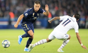 Eden Hazard finds his way past PSG's Ángel Di María on Wednesday, but his first start for Real Madrid was a night to forget for the Belgian.