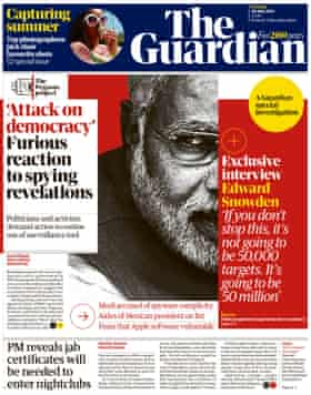 Front page of the Guardian, Tuesday July 20, 2021