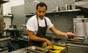 'I stumble through the prep, burning my salsify batons …' Rhik Samadder at Home, taking part in the Leeds Indie Food festival's Turning Tables event.