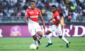 Youri Tielemans, left, in action for his new club, Monaco.