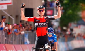 American rider Tejay van Garderen of team BMC celebrates as he crosses the finish line to win the 18th stage of the Giro d'Italia.