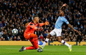 Raheem Sterling prods home his third.